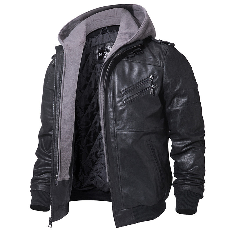 Men Vintage Genuine Hooded Motorcycle Mens Leather Jacket Jaqueta Masculino Couro FM-95 YY864