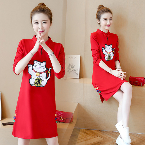 Ethnic-Style 2019 Autumn New Style Retro Cat Embroidery Stand Collar Frog Long Sleeve Slim Fit Improved Cheongsam Dress