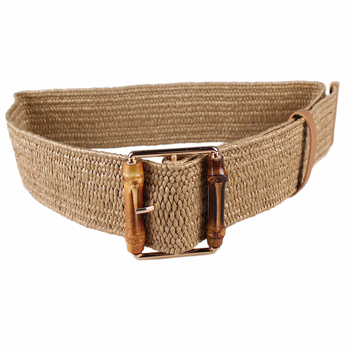 Retro Knitted Wax Rope Waist Rope Women Bamboo Buckle Belt Ladies Knitted Women'S Braided Belt