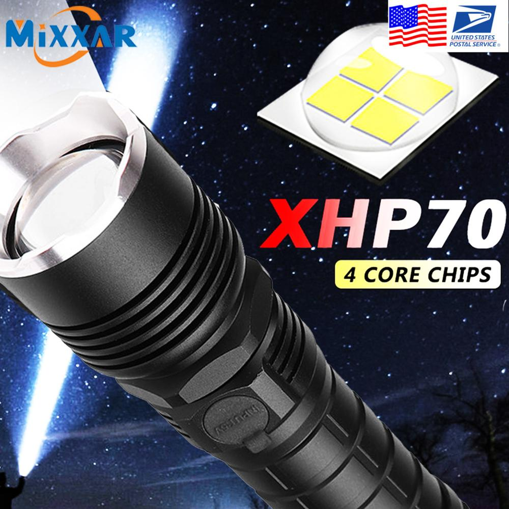 EZK20 Dropshipping LED Flashlight P50/P70 Zoom Handhold Flashlights 18650/26650 Battery Reminder For Indoor/Outdoor Use