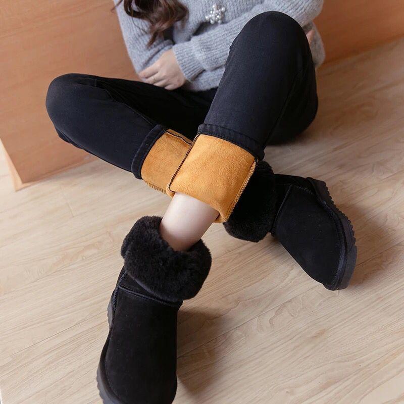 Women Winter Jeans Slim Elastic Warm Vintage Velvet Thick Skinny Jean Femme Denim Pencil Pants Trousers