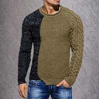 Oeak мужской модный однотонный осенний вязаный свитер с круглым вырезом и длинным рукавом, повседневный приталенный пуловер, топы, новинка 2019
