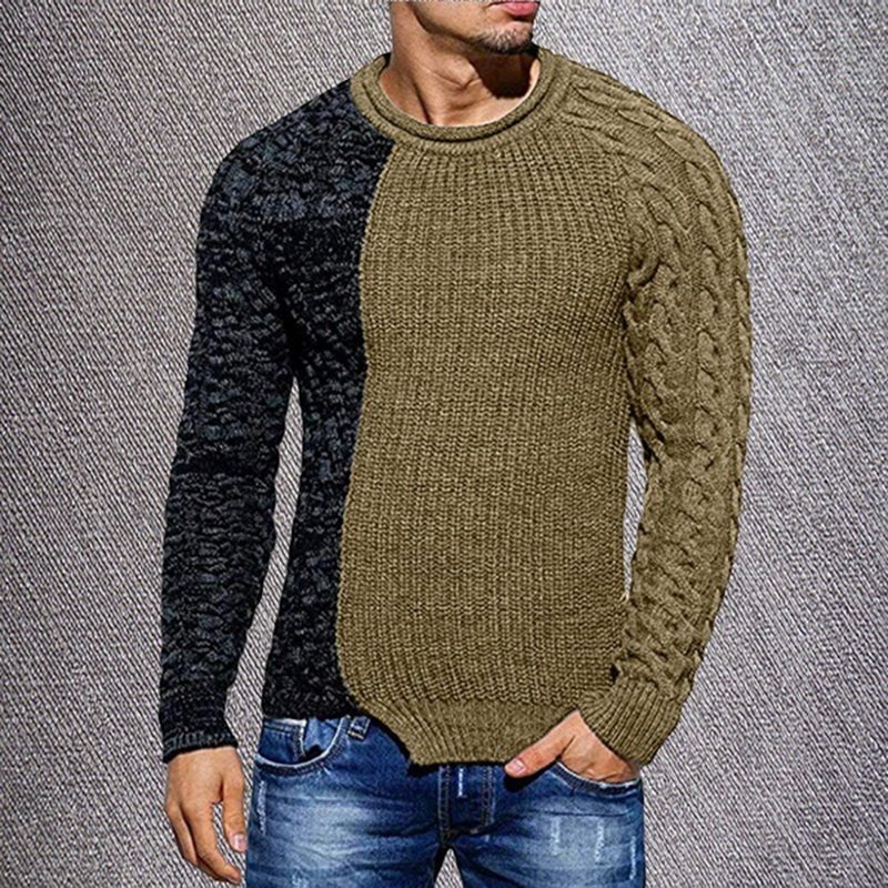 Oeak Men's Fashion Solid Color Autumn Knit O-Neck Long Sleeve Spliced Sweaters Casual Slim Fit Pullover Tops 2019 New
