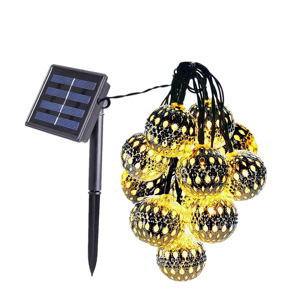 2mode 5m 20leds Solar Hollow Ball For Courtyard Decoration, Christmas Strings Lights, Holiday Lighting