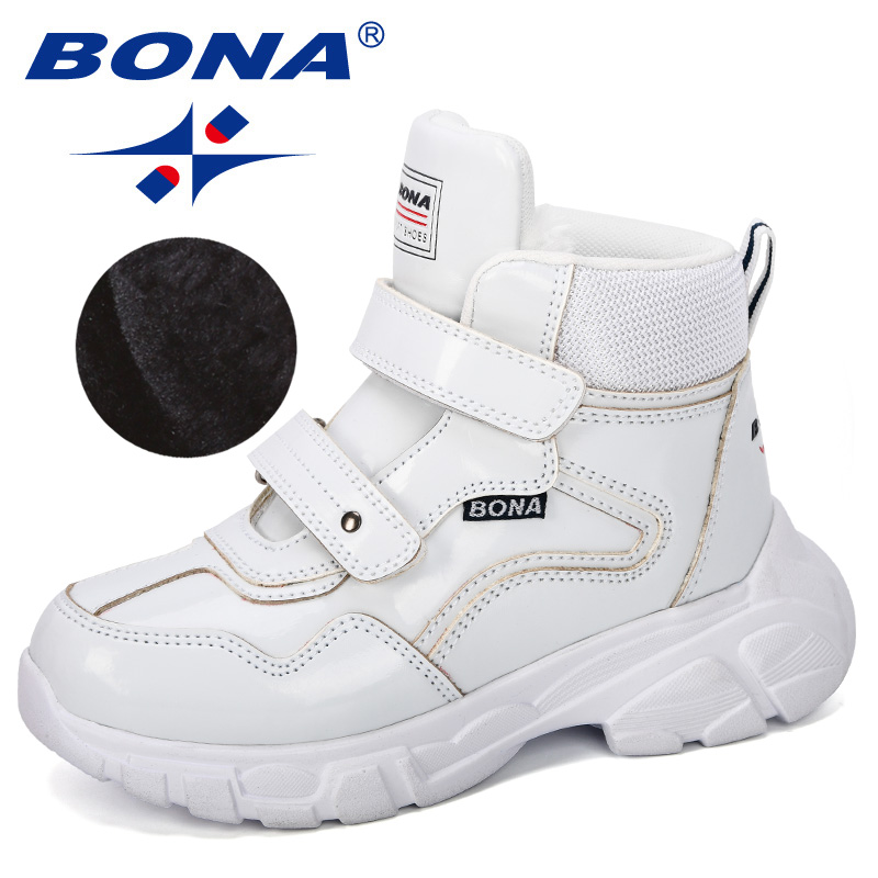 BONA 2019 New DEsigner Platform Shoes Children Ankle Boots Height Increasing Patent Leather Boots Kids Thick Sole Hook & Loop