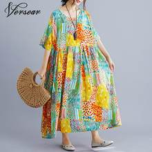 Versear 2019 Plus Size Women Beach Dress Summer Sundress Female Vestidos Casual Loose Print Floral Big Size 4XL 5XL Dresses Robe(China)