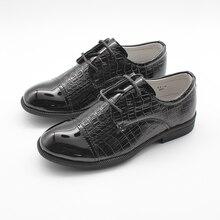 Boys Shoes Kids School Youth Infants Lace Up Patent Slip On