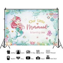 Yeele Mermaid Party urodziny tło fotograficzne wodorosty kraba rozgwiazda fotografia Backdrops konfigurowalny Photo Baby Studio