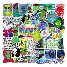Lot d'autocollants de dessins animés Alien, 50 pièces/lot, étiquette étanche, jouets amusants pour enfants, ordinateur portable, planche à roulettes, Graffiti, espace bagages