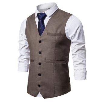Kamizelki męskie garnitur Smart Casual kamizelka bez rękawów Vintage formalne marynarki kamizelka na ślub pojedyncze guziki kamizelki Fit męskie kamizelki tanie i dobre opinie FAVOCENT CN (pochodzenie) Suknem 0514 Poliester