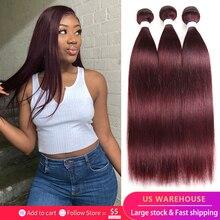 99J/Burgundy Red Brazilian Straight Human Hair Bundles KEMY HAIR 100% Human Hair Weave Bundles Remy Hair Extension 3/4 PCS