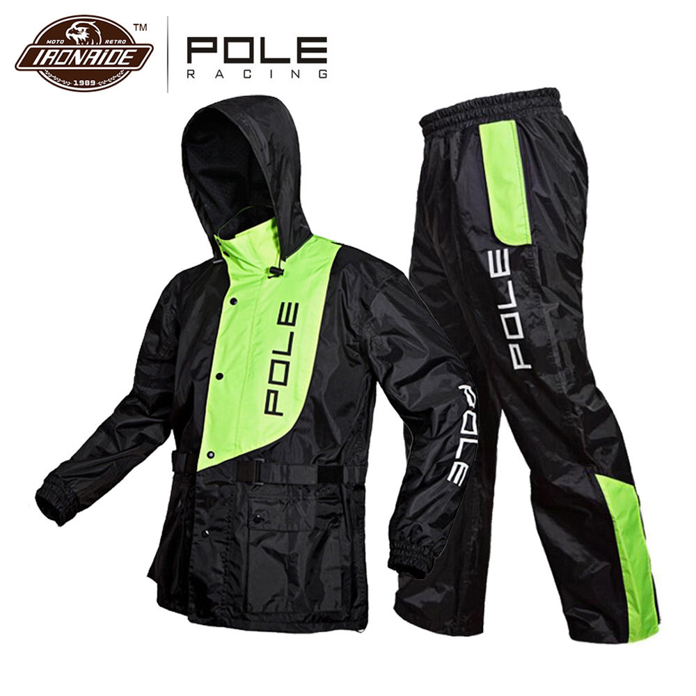 POLE Waterproof Motorcycle Rain Suit Raincoat+Rain Pants Poncho Motorcycle Rain Jacket Motorbike Scooter Riding Rain Suit