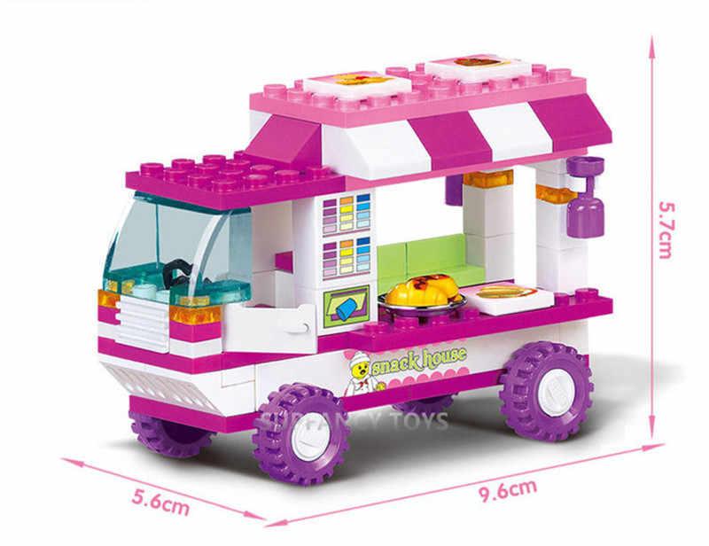 102Pcs Stadt Vans Snack Haus Auto Bausteine Sets Freunde Figuren Brinquedos DIY Ziegel Playmobil Pädagogisches Spielzeug für Mädchen