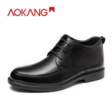 AOKANG 2019 New Arrival Men Boots Genuine Leather Ankle Comfortable Warm Short Plush Dress Shoes Casual