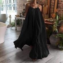 Feminino casual vestidos sólidos sem mangas grande swing strap vestido bolso solto sem costas sexy vestidos longos longo # g2