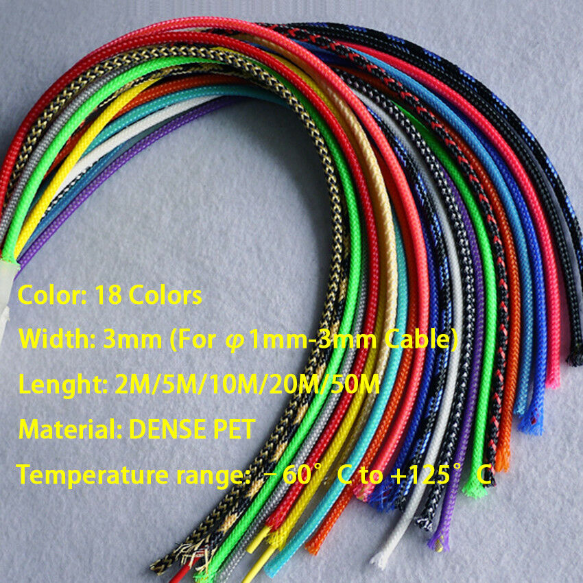 12 colors 3mm-25mmPET braided tube hose cable harness nylon mesh sheath extended protection sleeve three woven encrypted