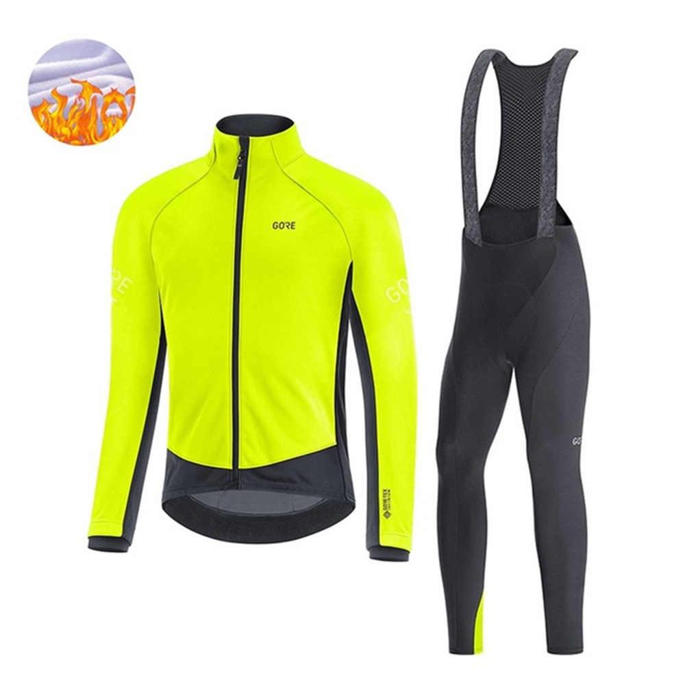 Mens Thermal Fleece Cycling Jersey Jacket Bib Pants Set 2020 Winter Road Outfits