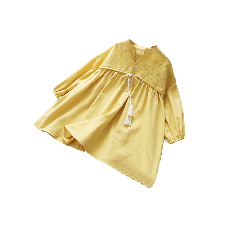 Image 5 - Girls Spring Dress Fringed Bow Pleated Princess 2020 SpringDresses