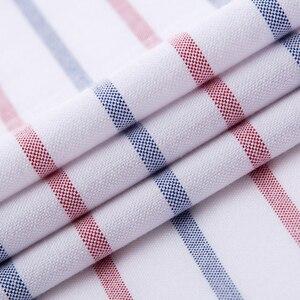 Image 5 - Męska Casual 100% bawełna Oxford w paski koszula pojedyncza naszyta kieszeń z długim rękawem standardowe dopasowanie wygodne grube koszulki z guzikami