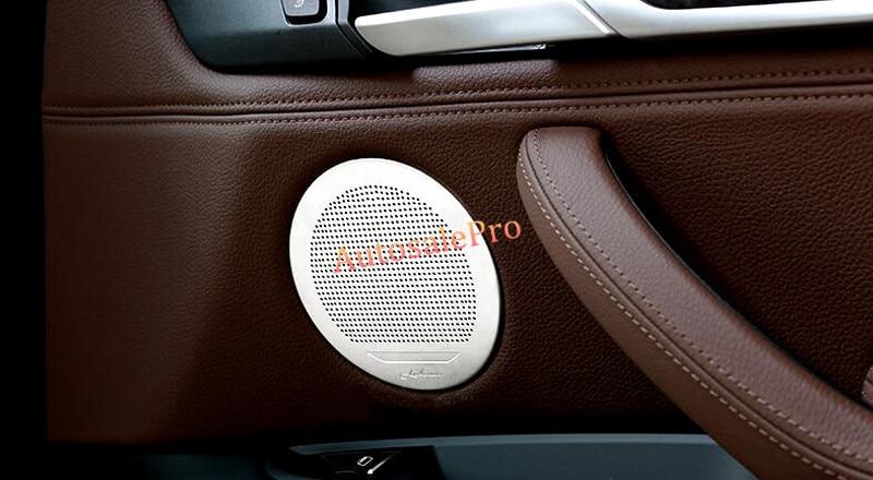 Pour BMW X5 E70 2008 2009 2010 2011 2012 2013 En acier inoxydable Argent Haut-Parleur Audio Bague Décoration Garnitures 6 pièces