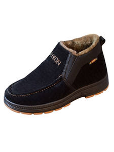 Warm Shoes Boots Velvet Winter Casual High-Men's New Thick Plus Cotton Slip-A-Pedal Middle-Aged