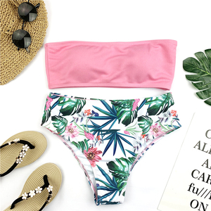Sexy Bandeau Bikini Set Women Floral Print Swimwear Push Up Swimsuit Brazilian Biquini Pink Bikinis Pad Bathing Suit Beachwear(China)