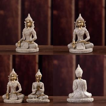 1pc The Hue Sandstone Meditation Buddha Statue Sculpture Miniatures Figurine Statue Handmade Meditation Home decoration Orn O8T6 image
