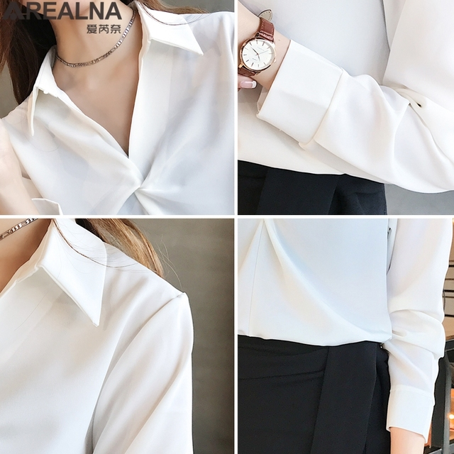 2020 autumn Women Blouse Korean office Long Sleeve Womens Tops And Blouses Vintage Folds Shirts Blusas Roupa Feminina Tops 5