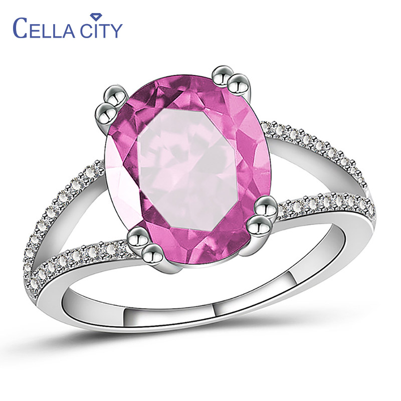 Cellacity Oval Gemstones Ring for Women Geometry Design Silver 925 Jewelry Pink Blue AAA Zircon Female Trendy Anniversary Rings