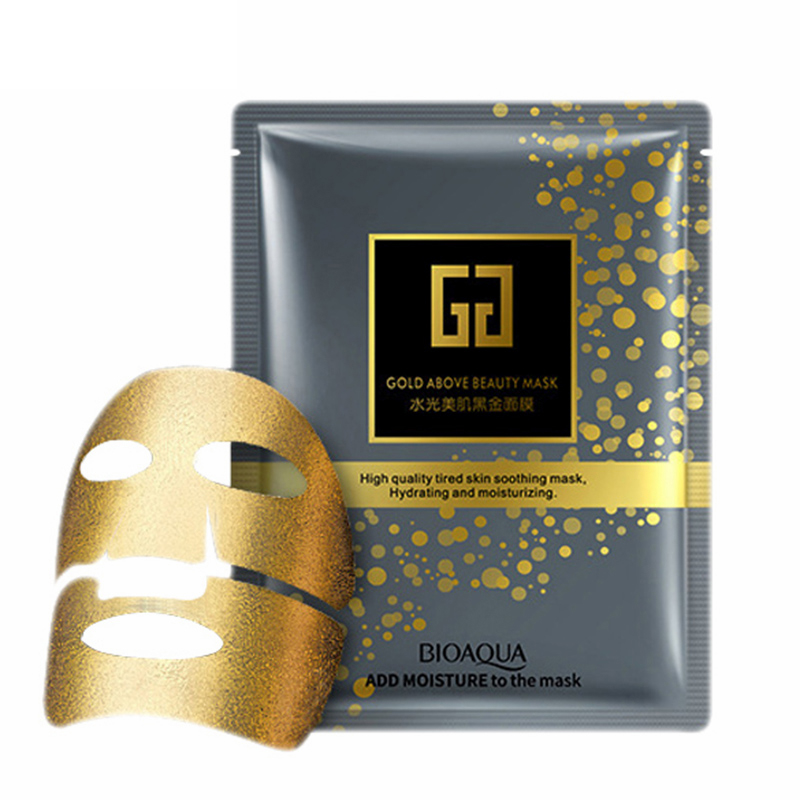 60Pcs Bioaqua 24K Gold Above Face Masks Hydrating Moisturizing Collagen Facial Mask Anti aging wrinkle Oil control skin care