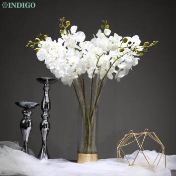INDIGO- 9pcs White  Orchid Flower Real Touch Phalaenopsis Latex Flower Wedding Party Fake Flower Butterfly Flower Free Shipping