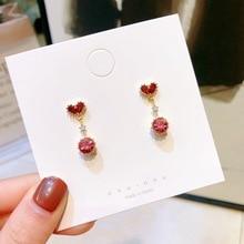 Small Red heart Crystal Earrings charm drop aretes de mujer modernos fashion jewelry rhinestone luxury earrings