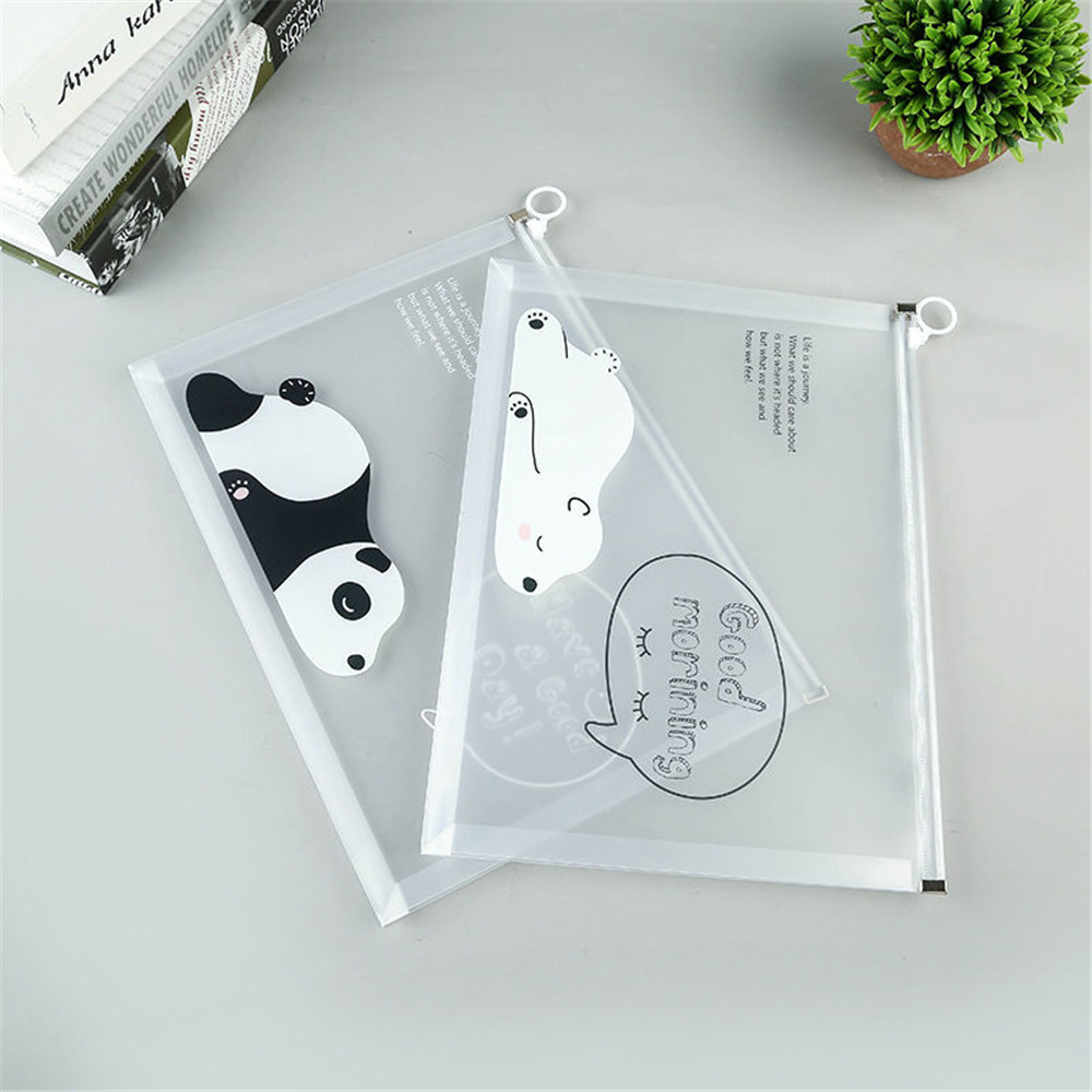 A4 File Bag Transparent Cartoon Bear Zipper Bag Student Test Paper Data File Bag Pencil Case Storage Zipper Bag Office Organizer
