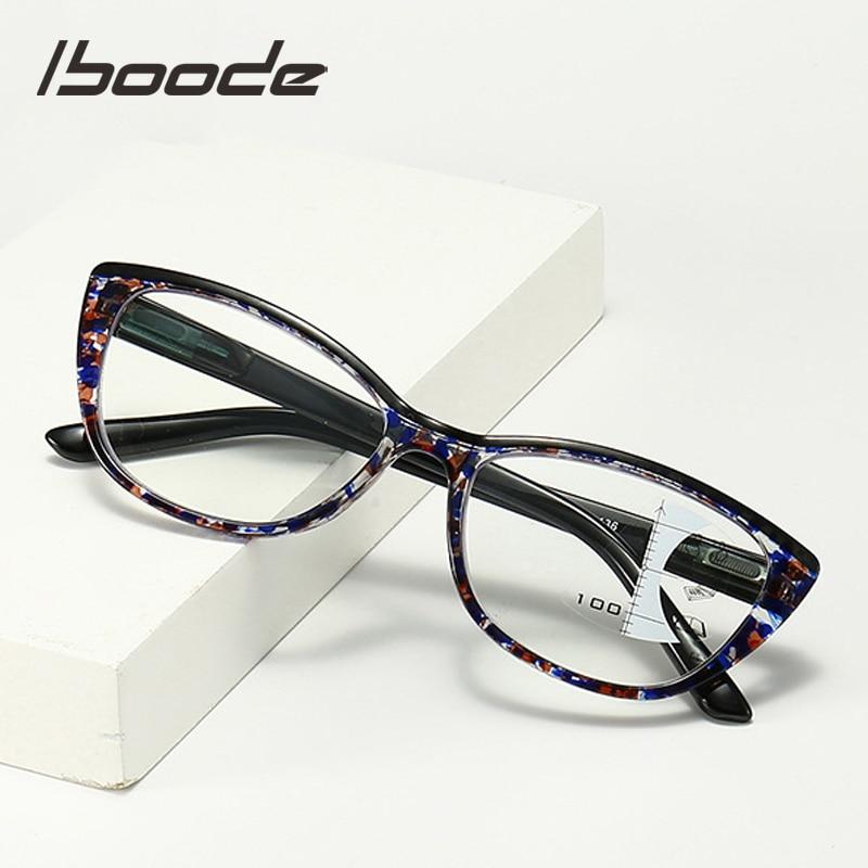 Iboode Fashion Anti Blue Rays Reading Glasses Men Women Progressive Multifocal Reading Eyeglasses For Presbyopia +1.0 To +3.5