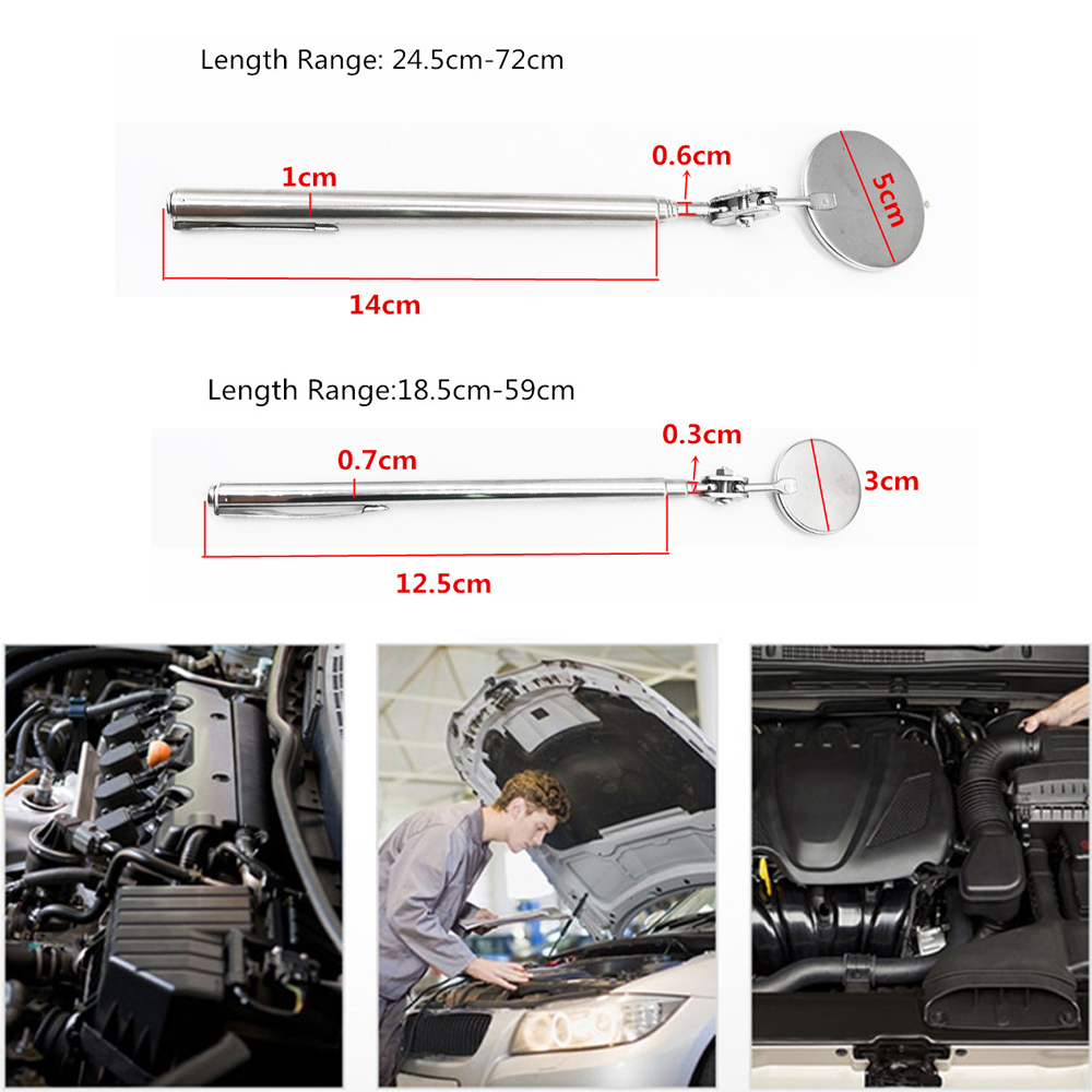 Car Telescopic Inspection Mirror Extending Angle View Automotive Hand Repair Tools