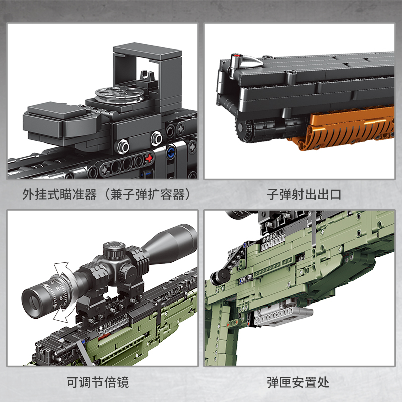 Image 4 - Fit Technic Series Guns shotgun Can Fire Bullets Set AWM Winchester M1897 DIY Model Building Blocks Toys For Boys Gifts LepiningBlocks   -