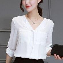 Women Shirts Korean Fashion Chiffon Blouese Shirt Elegant White OL Plus Size Blouse Harajuku V Neck Top