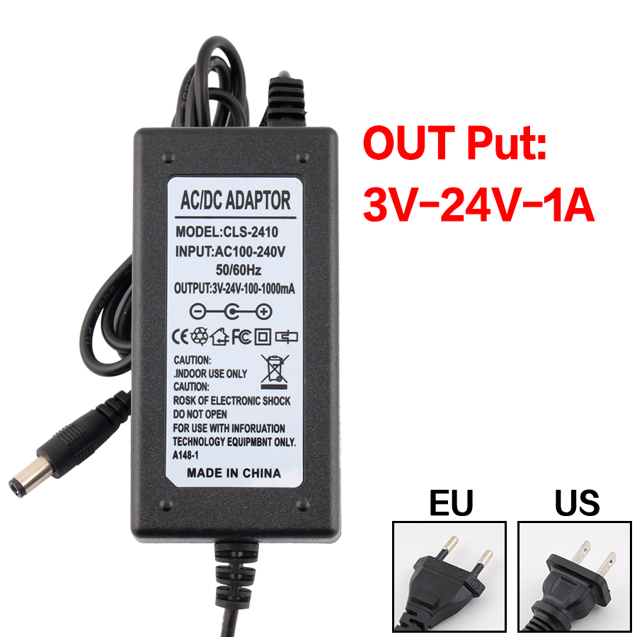 <font><b>3</b></font> 6 9 12 24 <font><b>V</b></font> Power Adapter 1A 2A 3V 9V 12V 24V <font><b>AC</b></font> Adjustable Power Adapter 5V Supply Display Screen 220V To 12V Led Light image