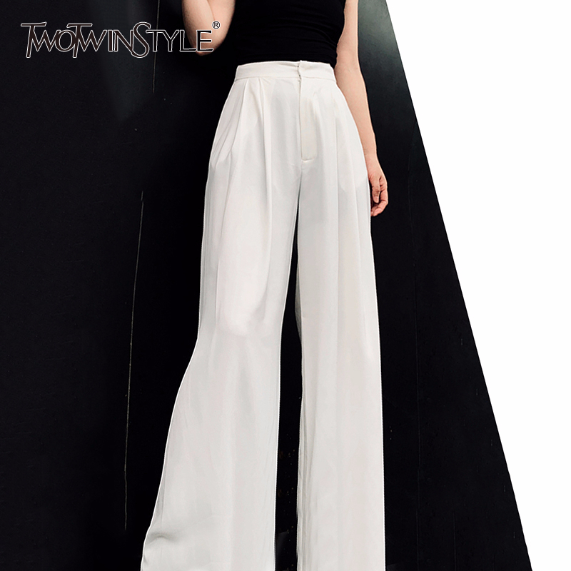 TWOTWINSTYLE Eelegant Women Full Length Pants High Waist Loose Pleated Wide Leg Pants For Female Fashion 2020 Spring Clothes New