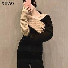 XITAO irrégulière tricoté pull pull femmes 2020 automne hiver décontracté nouveau Style tempérament femmes vêtements ZY1161