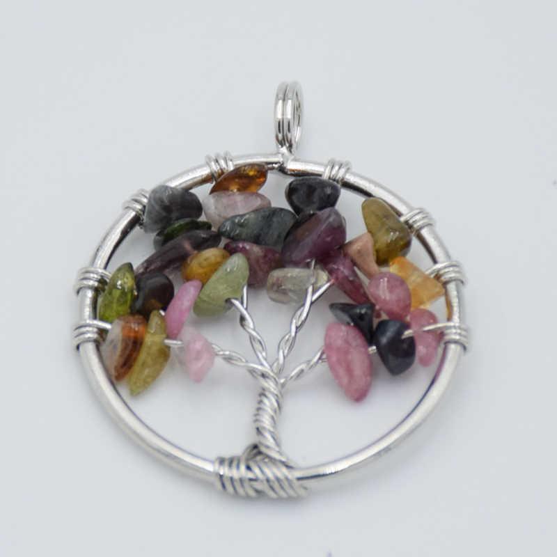 עץ של חיים שרשרת תליון כסף-צבע טבעי פנינה אבן אובסידיאן גביש שבב חרוזים 7 צ 'אקרה חוט עטוף נשים תכשיטים