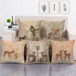 Linen Cushion Cover Deer Rabbits with Snowan Decorative Pillow Cases 45x45cm for Living Room Sofa Couch Home Christmas Decor