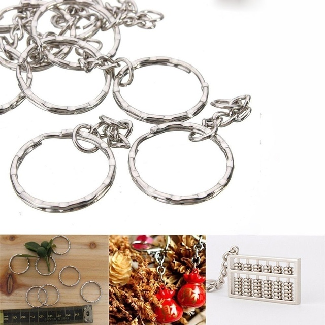 Silver Plated Metal Blank Keyring Keychain Split Ring Keyfob Key Holder Rings Women Men DIY Key Chains Accessories 2
