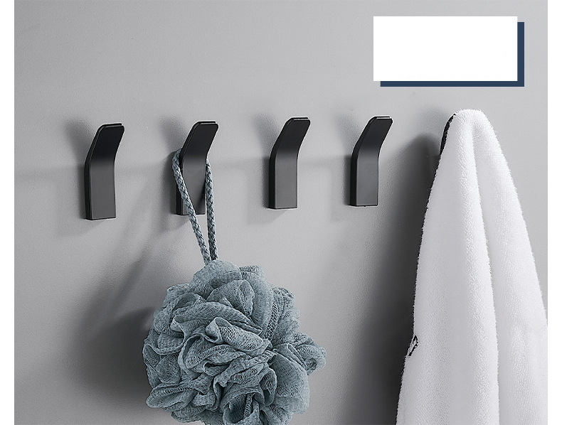 Hb6829493f37643dc94bf2bb398e795bd0 - Perforated Black-Free Clothes Hooks Alumimum White Wall Hanging for Bathroom Bedroom Modern Wall Hanger Hook Bath Accessories