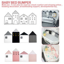 Baby Crib Bumper For Newborns Nordic INS Small House Bed Cushion Protector Infant Cot Around Pillows Baby Room Decor For Girl Bo(China)