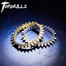 TOPGRILLZ ใหม่ Spikes Rivet สร้อยข้อมือ Luxury Iced OUT Bling Cubic Zircon กำไลรอบ Cuban Link Hip Hop (China)