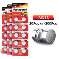 Panasonic 200Pcs 1.5v AG13 Zn/MnO2 LR44 LR 44 120mah Calculator Button Batteries For Laser Pointer Hearing Aid Watch Camcorder