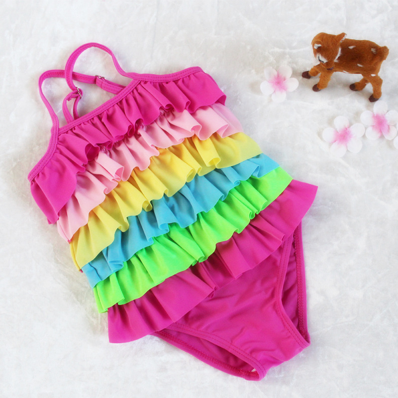 Rainbow Stripes Girls Swimming Suit KID'S Swimwear Wholesale One-piece Swimming Suit Children 2019 New Products