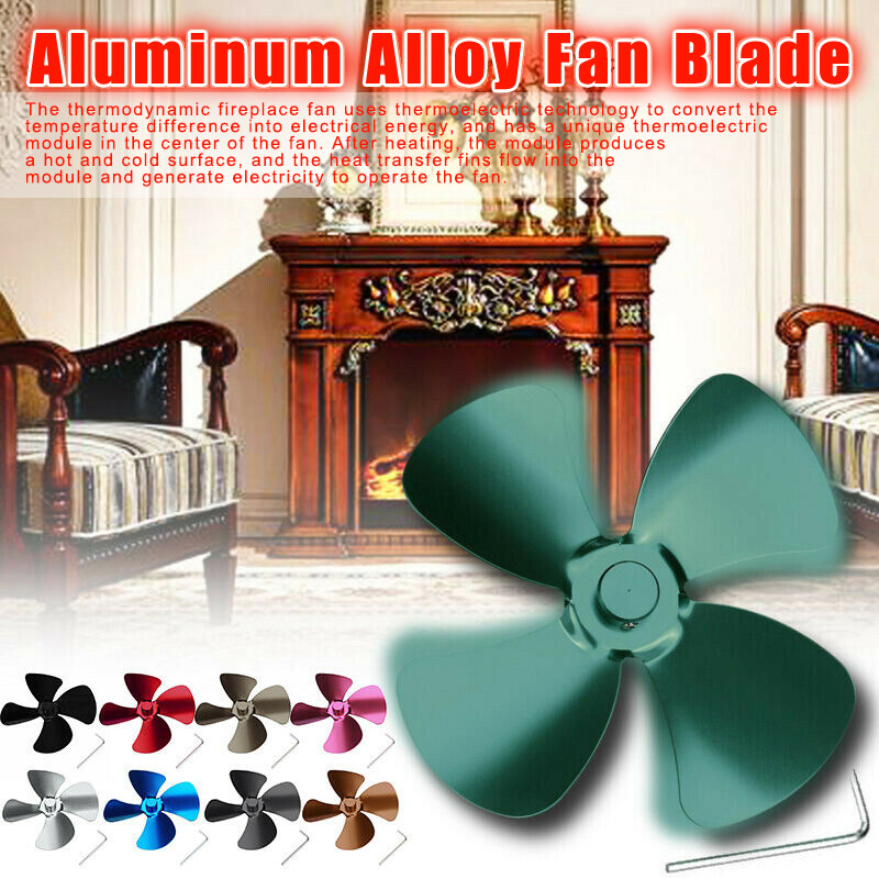 Aluminum Alloy 4 Blades Accessories For Stove Fan Fireplace Heat Powered Saving K888