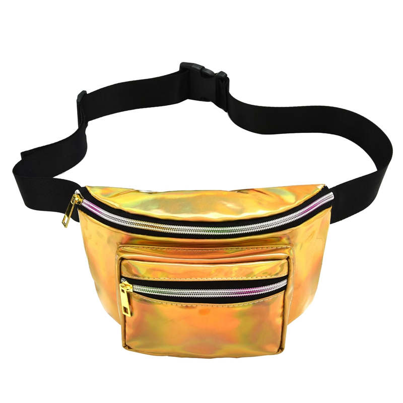 JHD-Women Holographic Fanny Pack Shiny Waist Bag Hip Purse Travel Bag